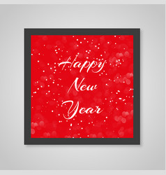 merry christmas card red color in snow vector image