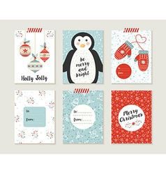 Merry christmas card set pattern retro cute bauble vector