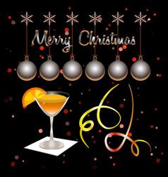merry christmas xmas balls and cocktail glass vector image