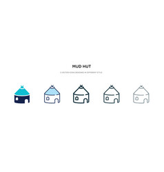 Mud hut icon in different style two colored vector