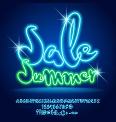 Neon light shopping promo poster sale summe vector