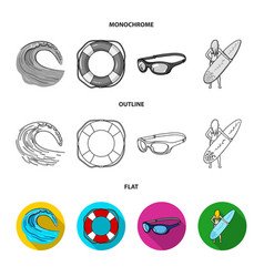 Oncoming wave life ring goggles girl surfing vector
