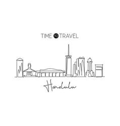 one single line drawing honolulu city skyline vector image