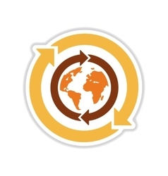 Paper sticker on white background arrows Earth vector