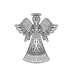 Patterned angel silhouette vector