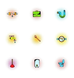 Plumbing icons set pop-art style vector