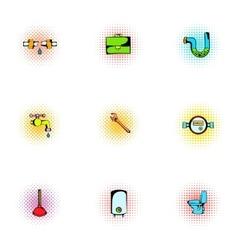 Plumbing icons set pop-art style vector