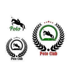 Polo club design with player and rearing up horse vector
