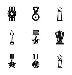 prize icons set simple style vector image