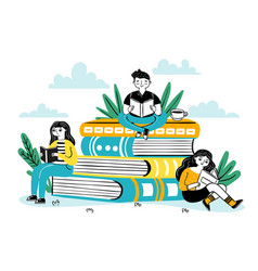 reading on pile books happy students sit on vector image