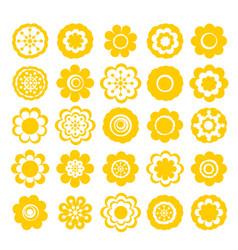 realistic paper sticker set flowers vector image