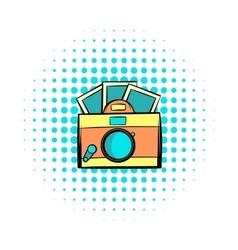 Retro camera comics icon vector