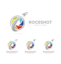 Rocket and camera shutter logo vector