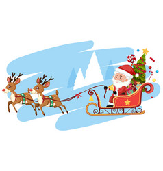 santa claus riding sleigh template vector image