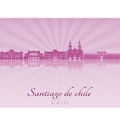 Santiago de Chile skyline in purple radiant vector image