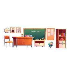 school classroom furniture cartoon set chalkboard vector image