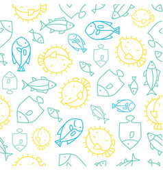 seamless pattern tropical fish outline summer vector image
