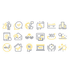 set business icons such as send mail vector image