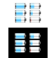Set of batteries or cells showing the charge vector image