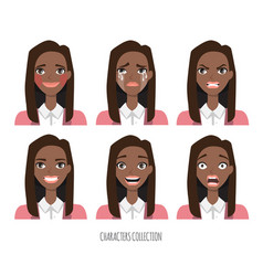 Set of emotions for black african american vector