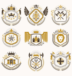 set of vintage emblems created with decorative vector image