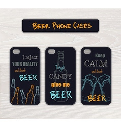 Set of vintage hand drawn phone case made in beer vector