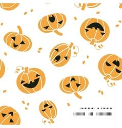 Smiling Halloween pumpkins frame corner pattern vector
