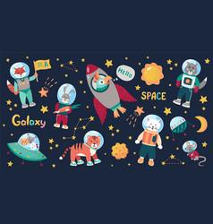space animal kids cartoon baastronauts with vector image