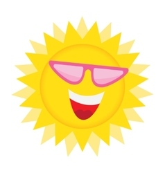 Sun Face with sunglasses and Happy Smile vector