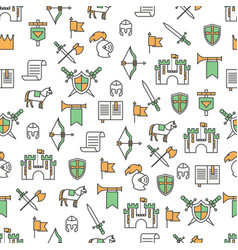 thin line art medieval knights seamless vector image