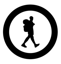 Tourist icon black color in circle or round vector