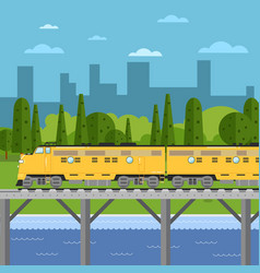 train moving on bridge background of cityscape vector image