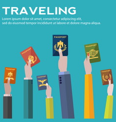 Traveling business trip hand holding passports vector