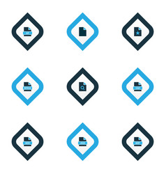 Types icons colored set with search file favorite vector