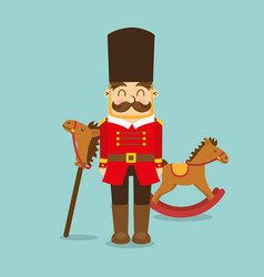 Vintage toys for kids soldier horse wooden icons vector