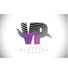 vp v p zebra texture letter logo design vector image