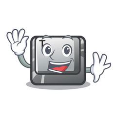 Waving t button installed on character computer vector