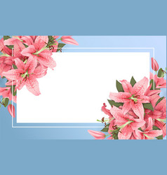 Wedding invitation with lily flowers vector