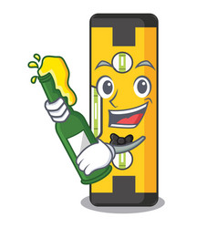 With beer spirit level in a cartoon bag vector