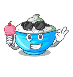 With ice cream sour cream in a wooden bowl cartoon vector