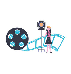 Woman with light reel strip production movie film vector