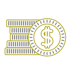 Yellow line coins cash money with peso symbol vector