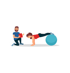 Young girl doing plank exercise using fitness ball vector