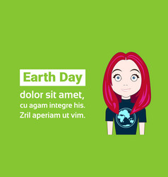 young girl wearing t-shirts with globe image earth vector image