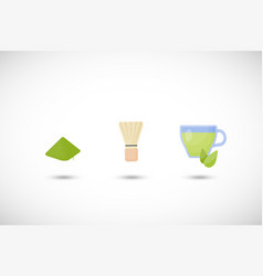 matcha tea powder flat icon set vector image vector image