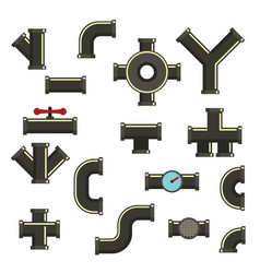 Pipeline icons set flat style vector