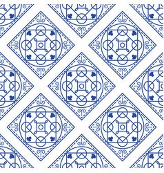 portuguese blue and white mediterranean seamless vector image vector image