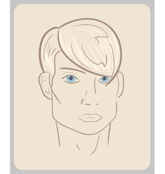 Handdrawn man face with blue eyes and blond hair vector image vector image