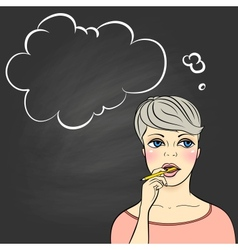 Thinking woman holding pencil vector