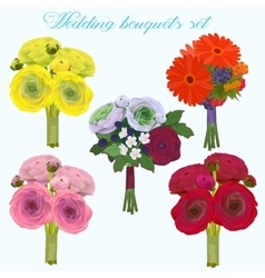 Wedding beautiful bouquet with roses and other vector image